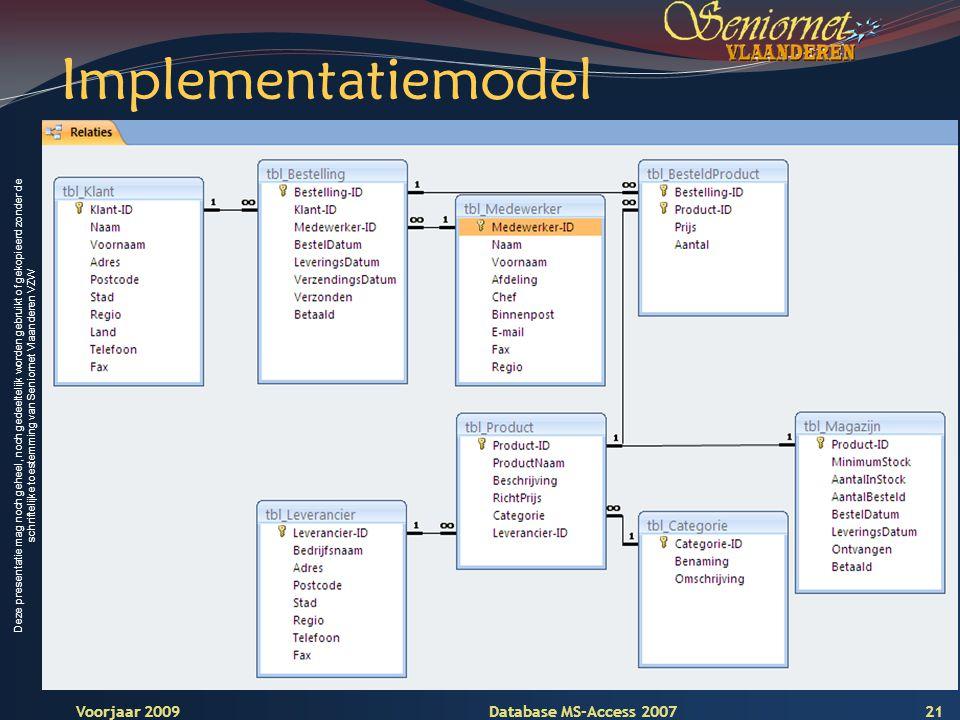 Deze presentatie mag noch geheel, noch gedeeltelijk worden gebruikt of gekopieerd zonder de schriftelijke toestemming van Seniornet Vlaanderen VZW Voorjaar 2009 Database MS-Access 2007 Implementatiemodel 21