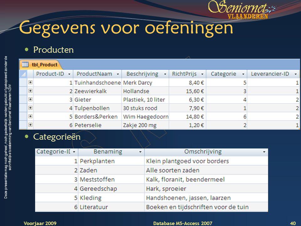 Deze presentatie mag noch geheel, noch gedeeltelijk worden gebruikt of gekopieerd zonder de schriftelijke toestemming van Seniornet Vlaanderen VZW Voorjaar 2009 Database MS-Access 2007 Gegevens voor oefeningen  Producten 40  Categorieën