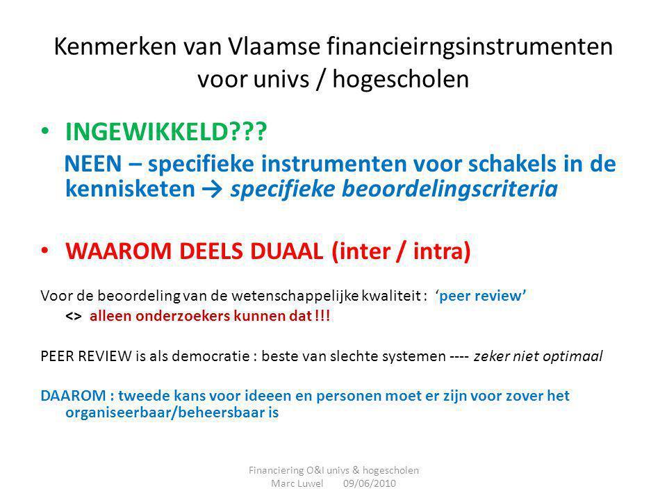 Kenmerken van Vlaamse financieirngsinstrumenten voor univs / hogescholen • INGEWIKKELD??? NEEN – specifieke instrumenten voor schakels in de kennisket