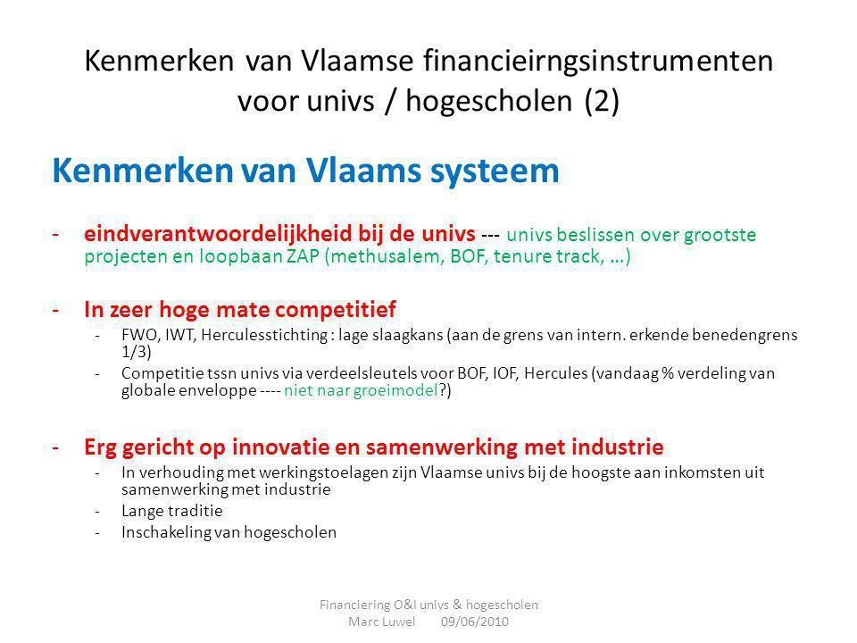 Kenmerken van Vlaamse financieirngsinstrumenten voor univs / hogescholen (2) Kenmerken van Vlaams systeem -eindverantwoordelijkheid bij de univs --- u