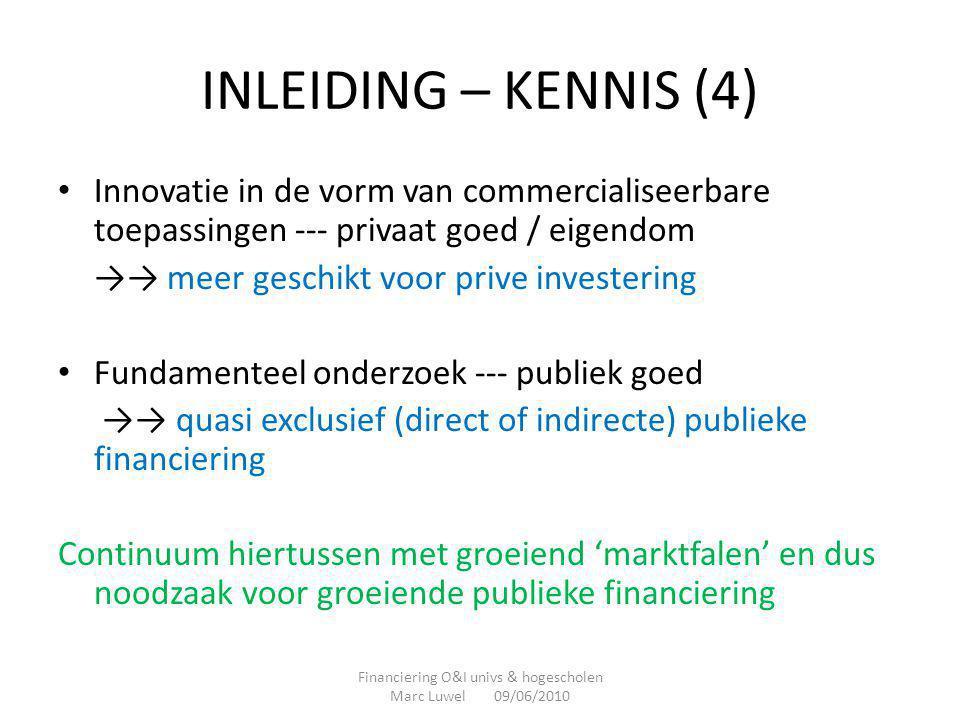 INLEIDING – KENNIS (4) • Innovatie in de vorm van commercialiseerbare toepassingen --- privaat goed / eigendom →→ meer geschikt voor prive investering