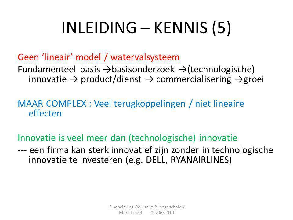 INLEIDING – KENNIS (6) Alternatieve manier om R&I te kenmerken -Werk waarvan de onderzoeker het onderwerp bepaalt VERSUS -Werk waarvan derden (bedrijven, financierende overheid, …) het thema vastleggen Financiering O&I univs & hogescholen Marc Luwel 09/06/2010