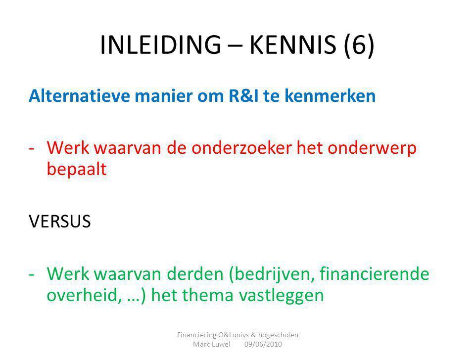 INLEIDING – KENNIS (6) Alternatieve manier om R&I te kenmerken -Werk waarvan de onderzoeker het onderwerp bepaalt VERSUS -Werk waarvan derden (bedrijv