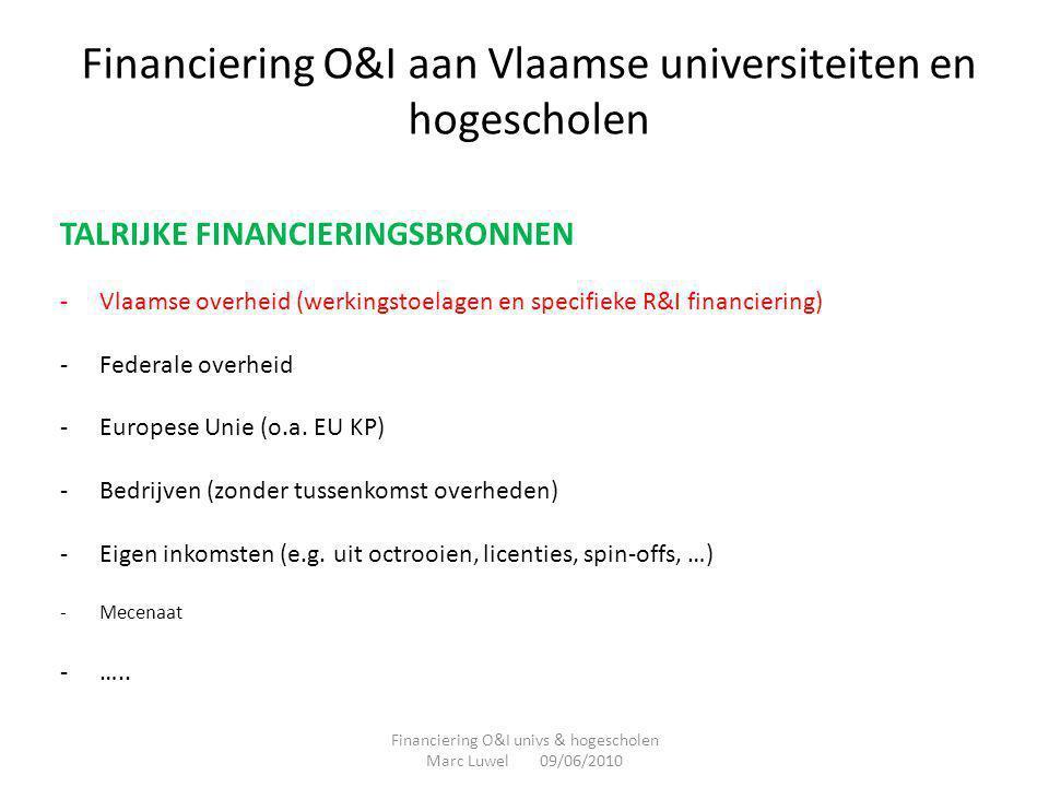 Financiering O&I aan Vlaamse universiteiten en hogescholen TALRIJKE FINANCIERINGSBRONNEN -Vlaamse overheid (werkingstoelagen en specifieke R&I financi
