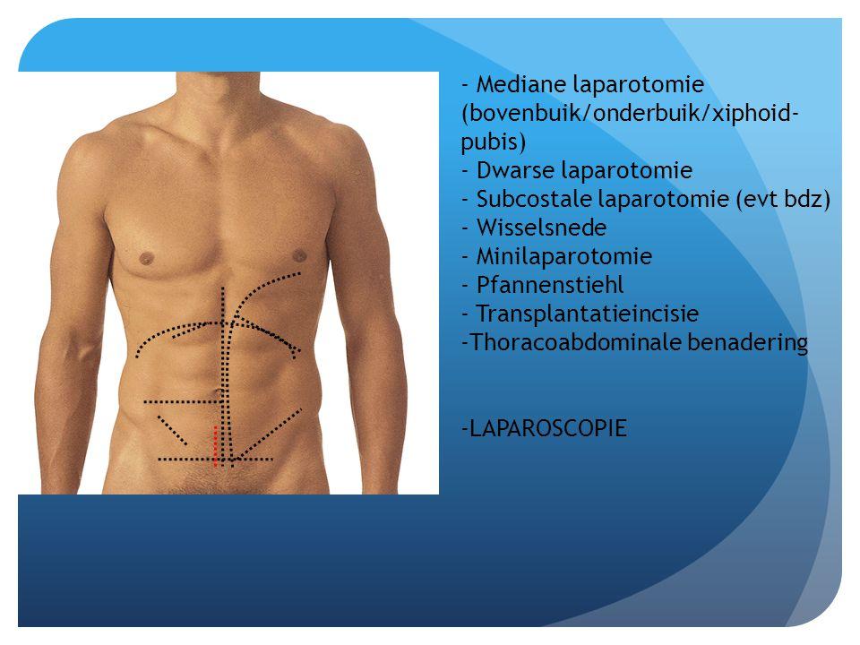 - Mediane laparotomie (bovenbuik/onderbuik/xiphoid- pubis) - Dwarse laparotomie - Subcostale laparotomie (evt bdz) - Wisselsnede - Minilaparotomie - P