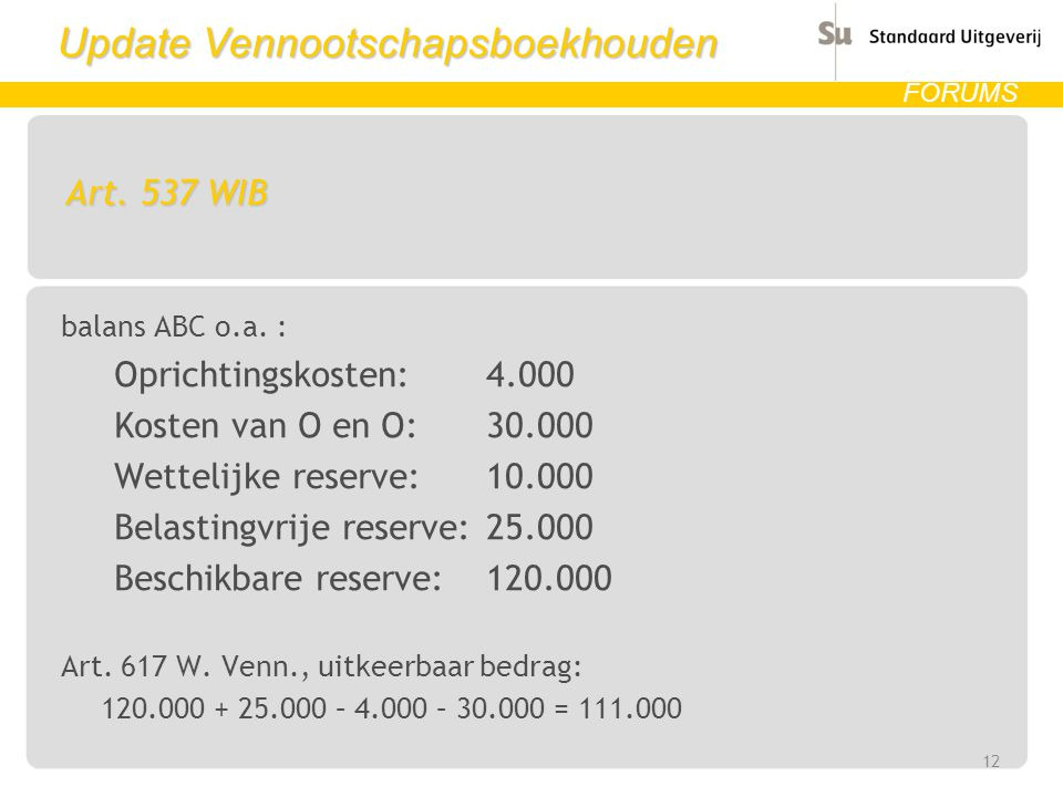 Update Vennootschapsboekhouden FORUMS Art.537 WIB balans ABC o.a.