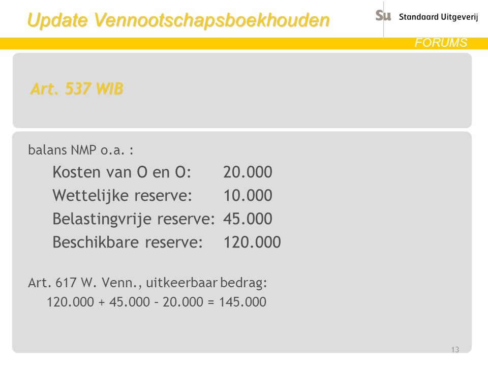 Update Vennootschapsboekhouden FORUMS Art.537 WIB balans NMP o.a.