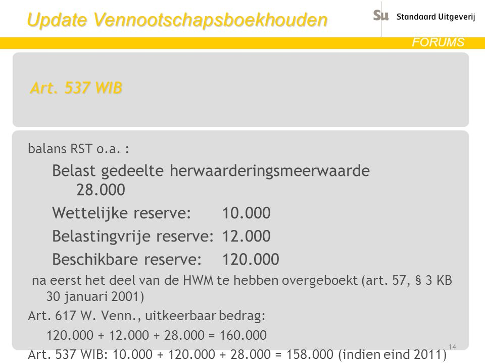 Update Vennootschapsboekhouden FORUMS Art.537 WIB balans RST o.a.