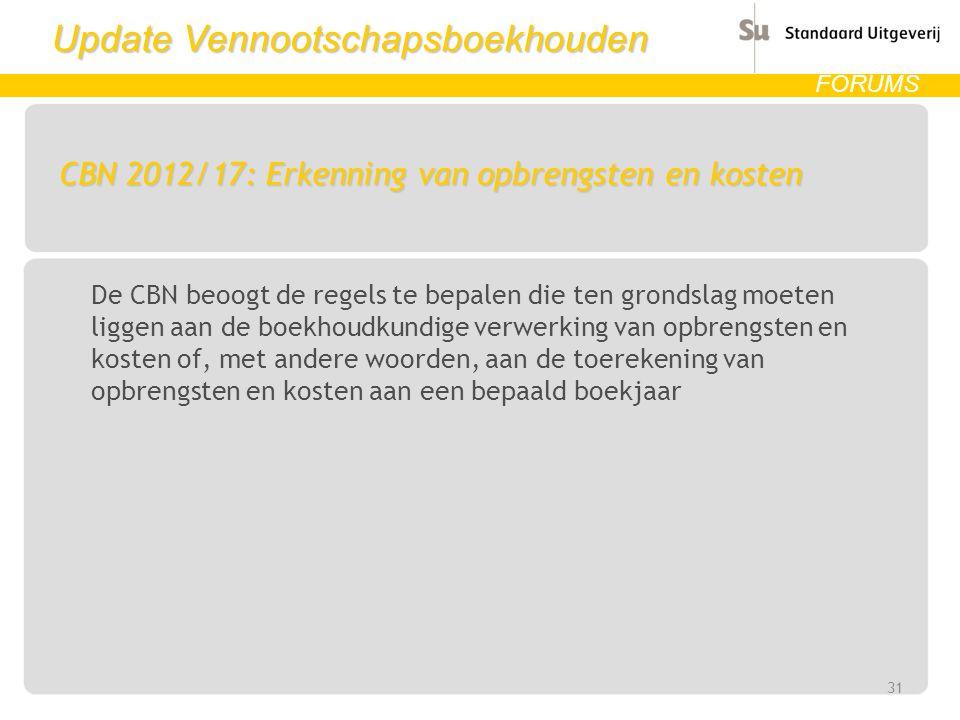 Update Vennootschapsboekhouden FORUMS CBN 2012/17: Erkenning van opbrengsten en kosten De CBN beoogt de regels te bepalen die ten grondslag moeten lig
