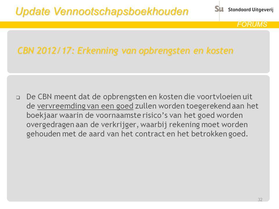 Update Vennootschapsboekhouden FORUMS CBN 2012/17: Erkenning van opbrengsten en kosten  De CBN meent dat de opbrengsten en kosten die voortvloeien ui
