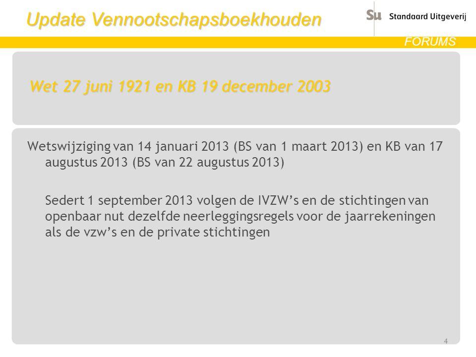 Update Vennootschapsboekhouden FORUMS Wet 27 juni 1921 en KB 19 december 2003 Wetswijziging van 14 januari 2013 (BS van 1 maart 2013) en KB van 17 aug