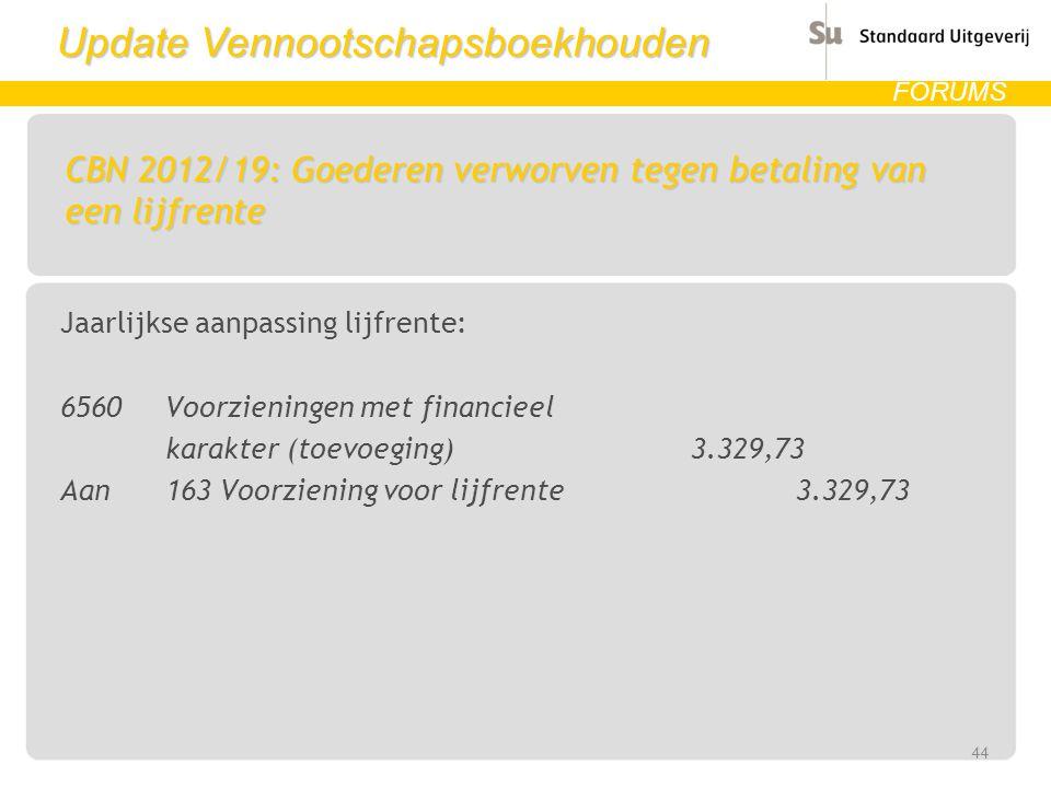 Update Vennootschapsboekhouden FORUMS CBN 2012/19: Goederen verworven tegen betaling van een lijfrente Jaarlijkse aanpassing lijfrente: 6560 Voorzieni