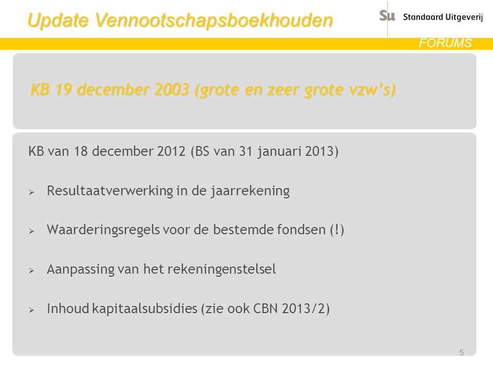 Update Vennootschapsboekhouden FORUMS KB 19 december 2003 (grote en zeer grote vzw's) KB van 18 december 2012 (BS van 31 januari 2013)  Resultaatverw