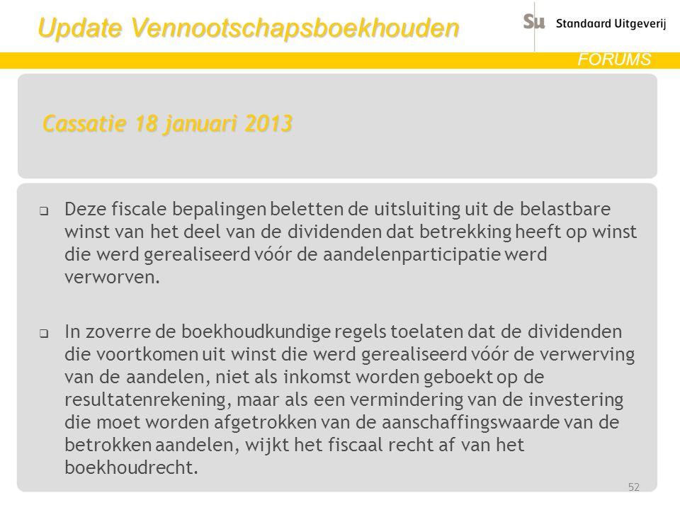 Update Vennootschapsboekhouden FORUMS Cassatie 18 januari 2013  Deze fiscale bepalingen beletten de uitsluiting uit de belastbare winst van het deel