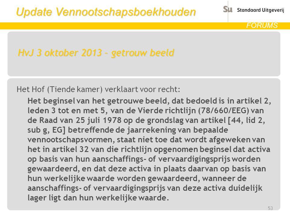 Update Vennootschapsboekhouden FORUMS HvJ 3 oktober 2013 – getrouw beeld Het Hof (Tiende kamer) verklaart voor recht: Het beginsel van het getrouwe be