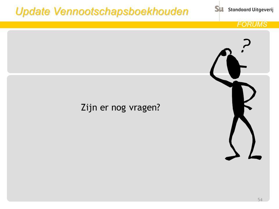 Update Vennootschapsboekhouden FORUMS Zijn er nog vragen? 54