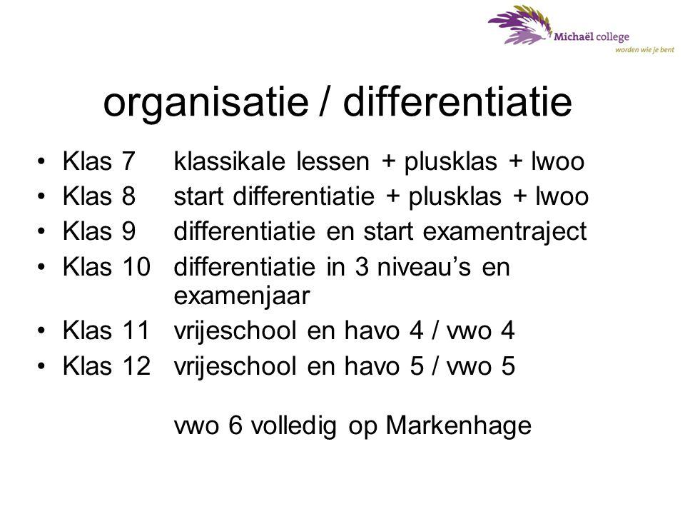 klas 7: •middenbouw-team •enkele vakleerkrachten erbij •lessen in heterogene groepen / plusklas / lwoo