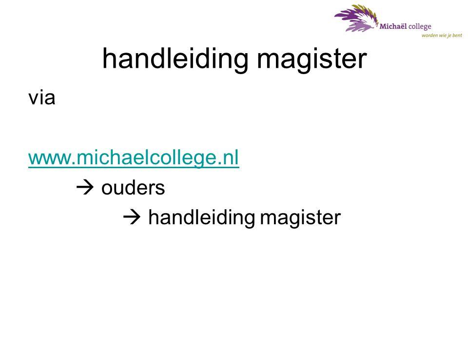 handleiding magister via www.michaelcollege.nl  ouders  handleiding magister