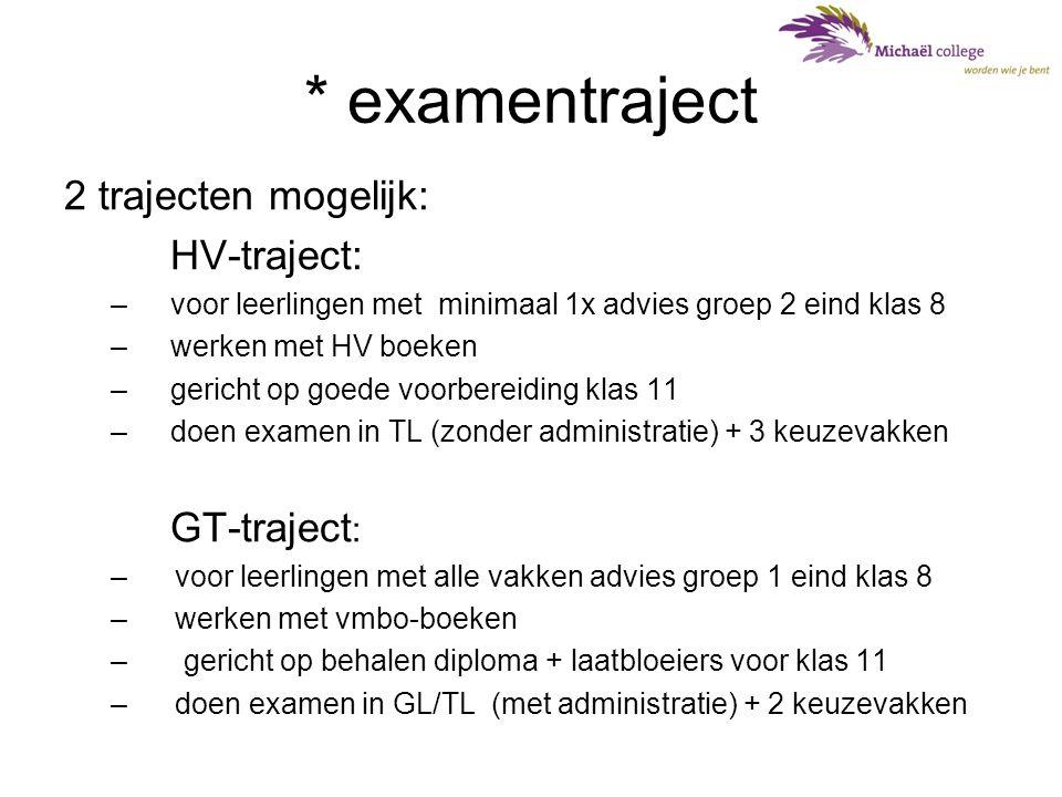 * examentraject 2 trajecten mogelijk: HV-traject: –voor leerlingen met minimaal 1x advies groep 2 eind klas 8 –werken met HV boeken –gericht op goede