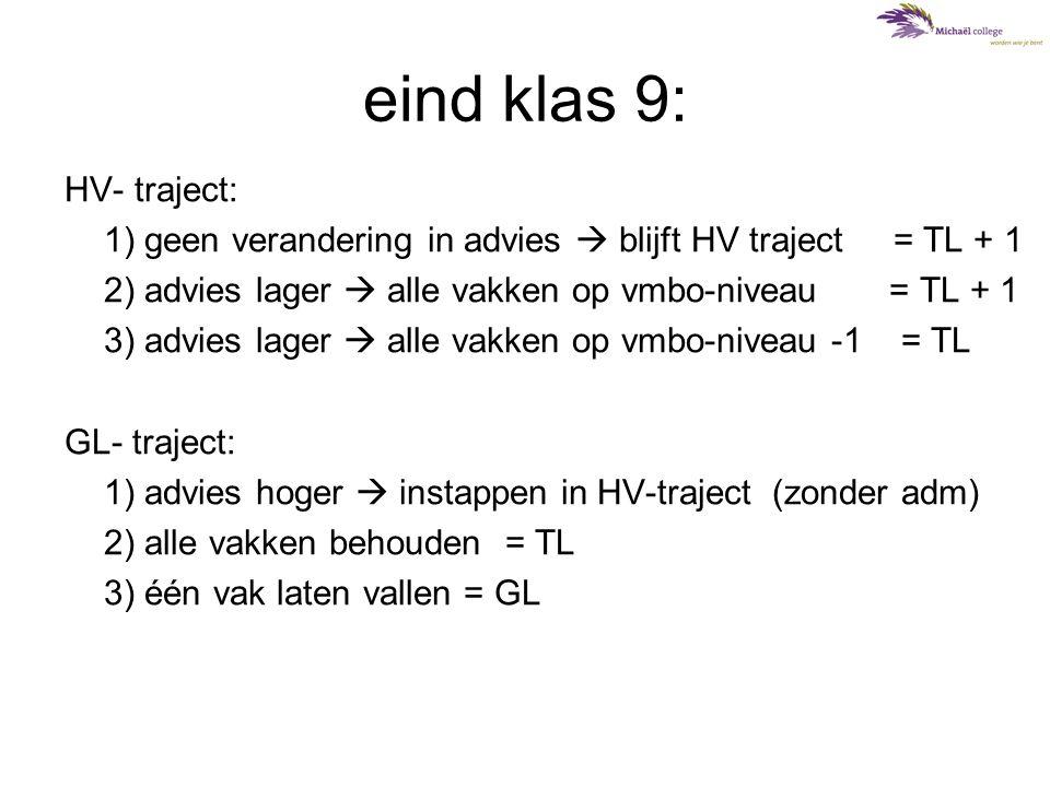 klas 10: •Drie niveaugroepen (cijfers, houding, vaardigheden) HV-traject: havo/vwo CM-EM-gericht (=A-stroom) HV-traject: havo/vwo NG/NT gericht (=B-stroom) (v)mbo-gericht