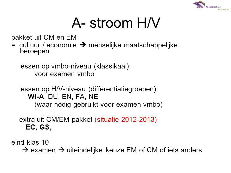 A- stroom H/V pakket uit CM en EM = cultuur / economie  menselijke maatschappelijke beroepen lessen op vmbo-niveau (klassikaal): voor examen vmbo les