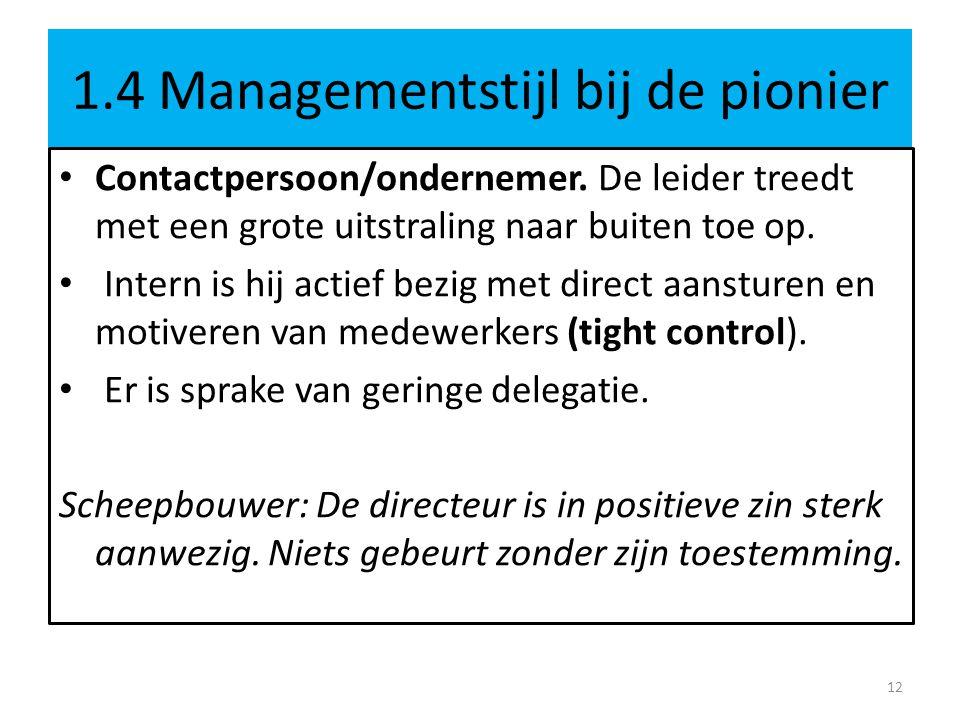 1.4 Managementstijl bij de pionier • Contactpersoon/ondernemer.