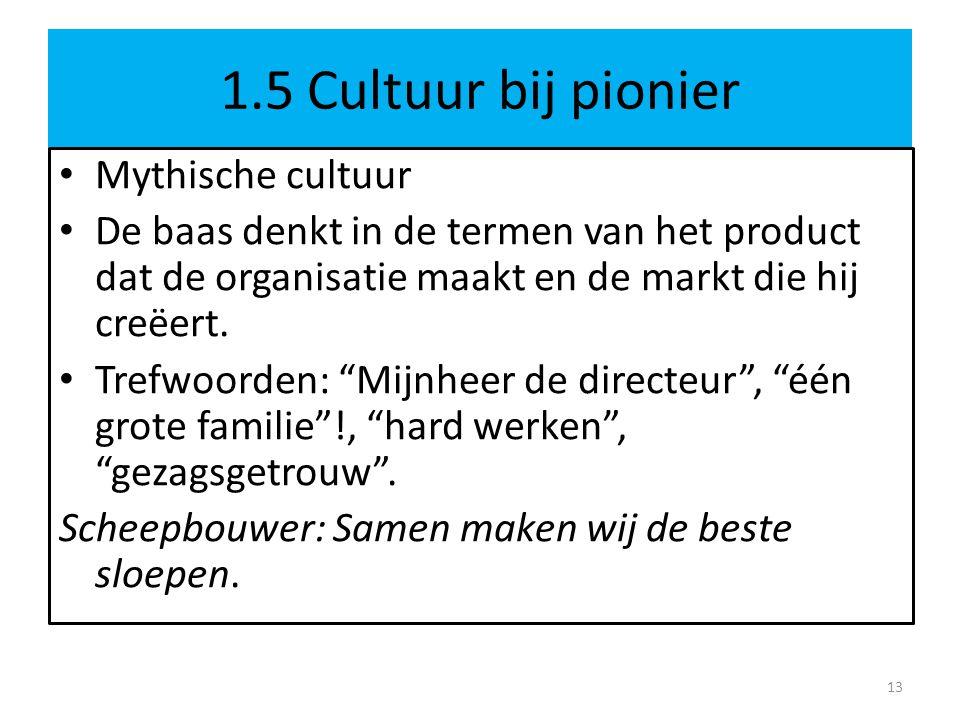 1.5 Cultuur bij pionier • Mythische cultuur • De baas denkt in de termen van het product dat de organisatie maakt en de markt die hij creëert.