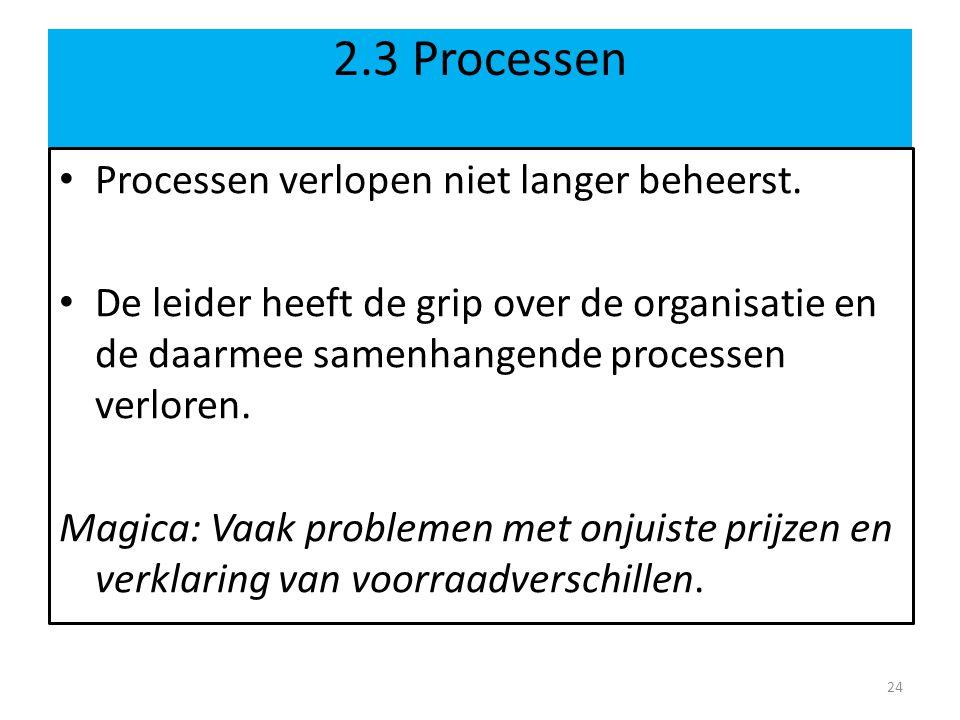 2.3 Processen • Processen verlopen niet langer beheerst.