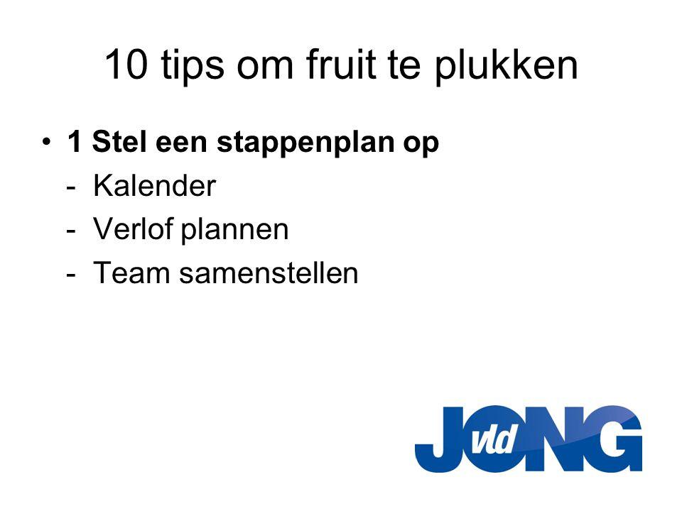 10 tips om fruit te plukken •1 Stel een stappenplan op - Kalender - Verlof plannen - Team samenstellen