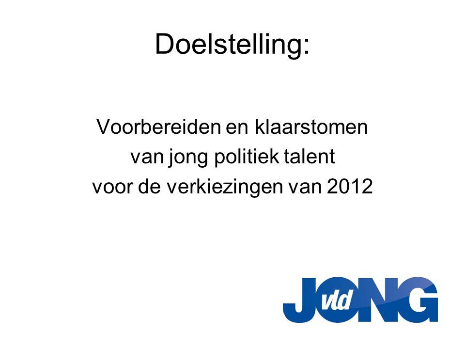Doelstelling: Voorbereiden en klaarstomen van jong politiek talent voor de verkiezingen van 2012