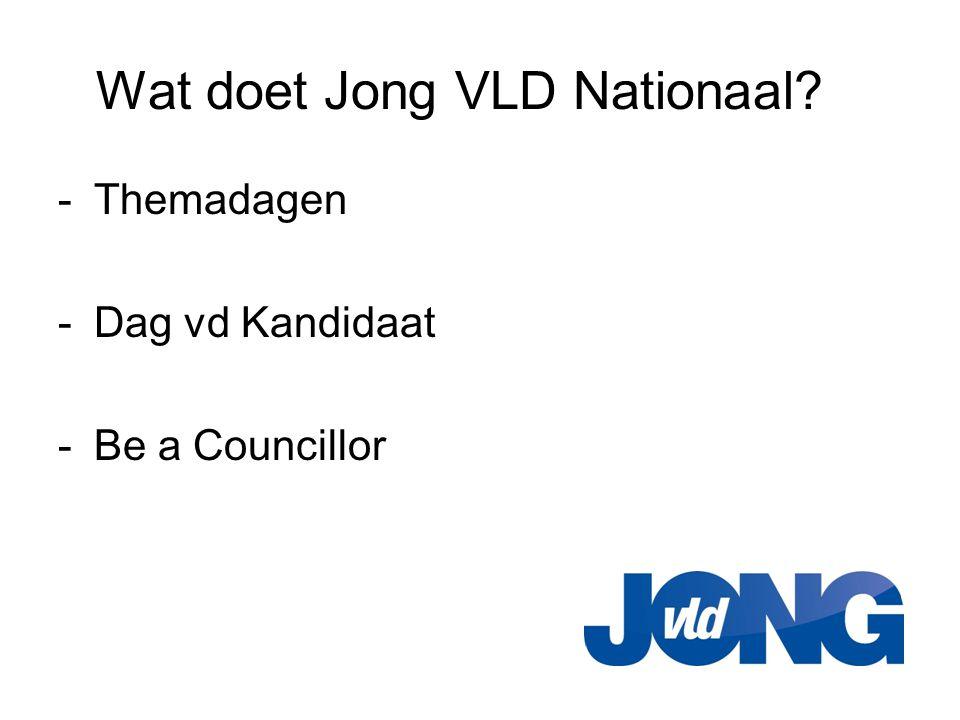 Wat doet Jong VLD Nationaal? -Themadagen -Dag vd Kandidaat -Be a Councillor