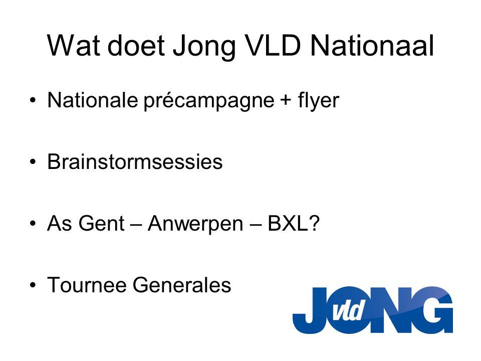 Wat doet Jong VLD Nationaal •Nationale précampagne + flyer •Brainstormsessies •As Gent – Anwerpen – BXL? •Tournee Generales