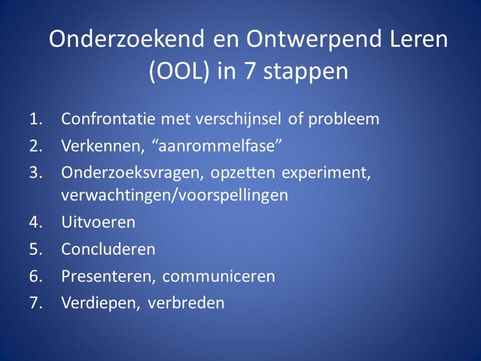 """Onderzoekend en Ontwerpend Leren (OOL) in 7 stappen 1.Confrontatie met verschijnsel of probleem 2.Verkennen, """"aanrommelfase"""" 3.Onderzoeksvragen, opzet"""