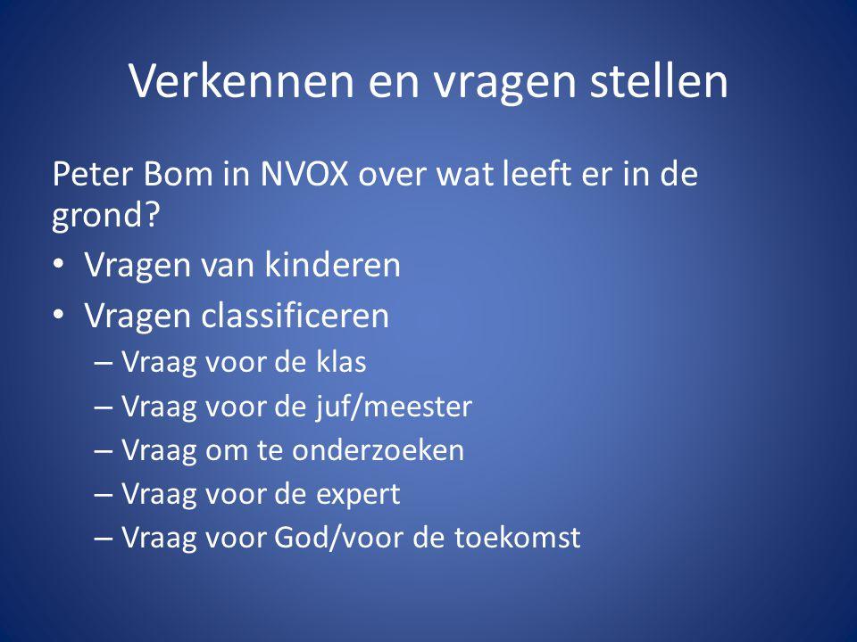 Verkennen en vragen stellen Peter Bom in NVOX over wat leeft er in de grond? • Vragen van kinderen • Vragen classificeren – Vraag voor de klas – Vraag