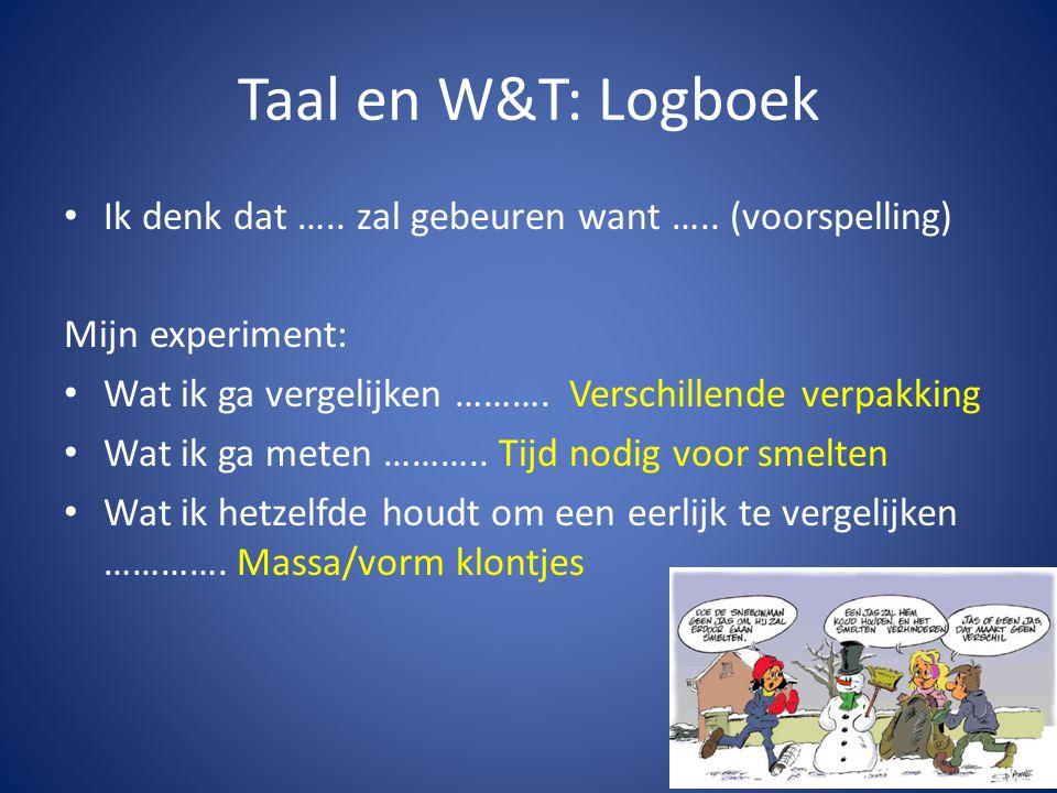 Taal en W&T: Logboek • Ik denk dat ….. zal gebeuren want ….. (voorspelling) Mijn experiment: • Wat ik ga vergelijken ………. Verschillende verpakking • W