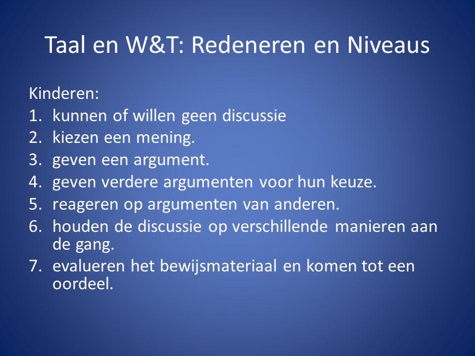 Taal en W&T: Redeneren en Niveaus Kinderen: 1.kunnen of willen geen discussie 2.kiezen een mening. 3.geven een argument. 4.geven verdere argumenten vo