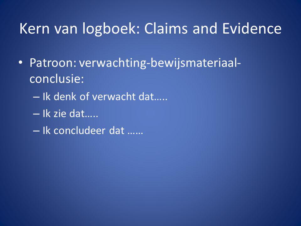 Kern van logboek: Claims and Evidence • Patroon: verwachting-bewijsmateriaal- conclusie: – Ik denk of verwacht dat….. – Ik zie dat….. – Ik concludeer