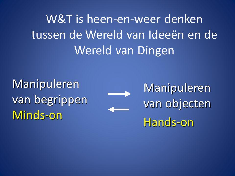 W&T is heen-en-weer denken tussen de Wereld van Ideeën en de Wereld van Dingen Manipuleren van objecten Hands-on Manipuleren van begrippen Minds-on