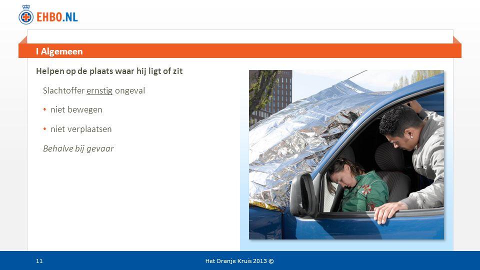 Beeld en tekst gelijk I Algemeen Het Oranje Kruis 2013 ©11 Helpen op de plaats waar hij ligt of zit Slachtoffer ernstig ongeval • niet bewegen • niet