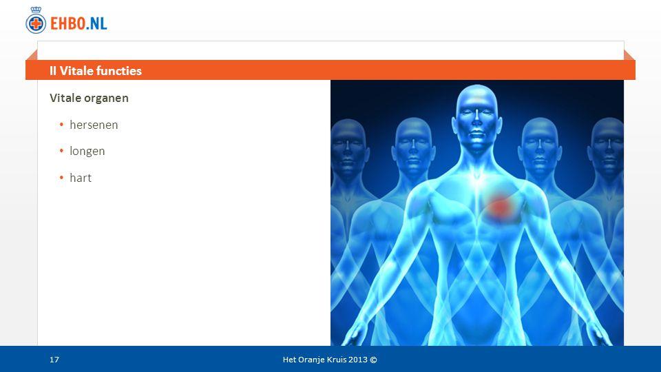 Beeld en tekst gelijk II Vitale functies Het Oranje Kruis 2013 ©17 Vitale organen • hersenen • longen • hart