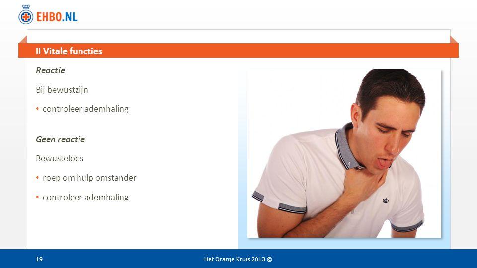 Beeld en tekst gelijk II Vitale functies Het Oranje Kruis 2013 ©19 Reactie Bij bewustzijn • controleer ademhaling Geen reactie Bewusteloos • roep om h