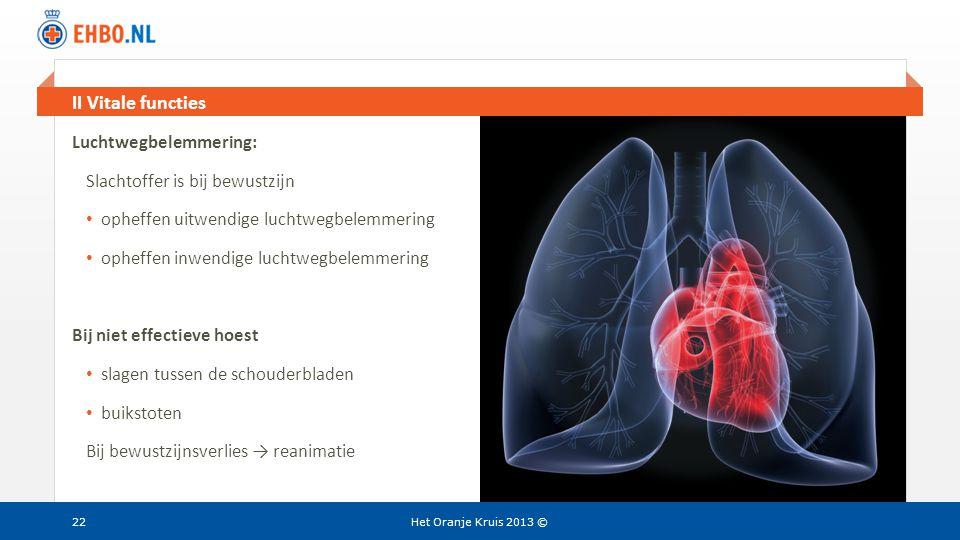 Beeld en tekst gelijk II Vitale functies Het Oranje Kruis 2013 © Luchtwegbelemmering: Slachtoffer is bij bewustzijn • opheffen uitwendige luchtwegbele