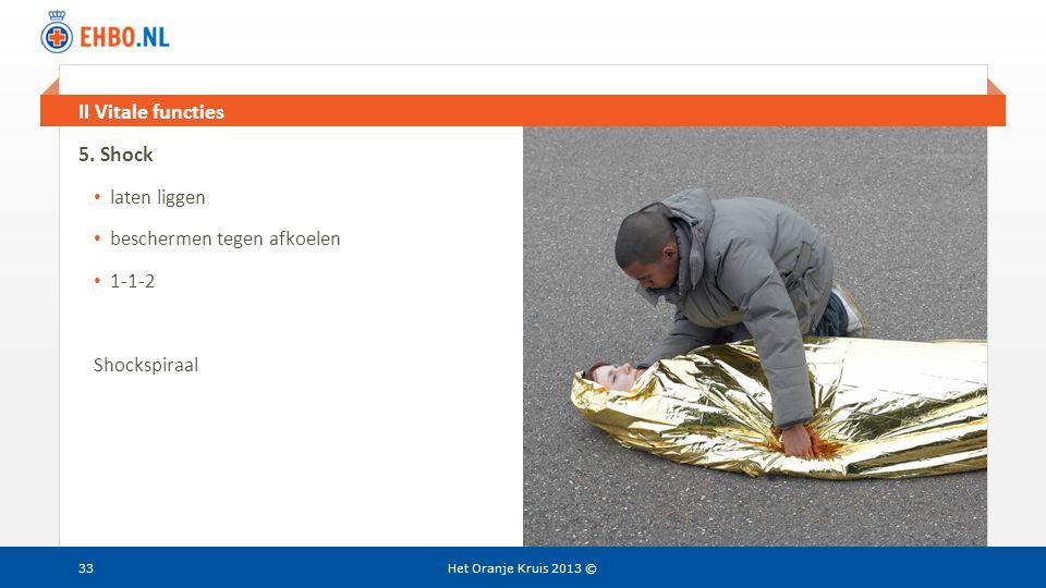 Beeld en tekst gelijk II Vitale functies Het Oranje Kruis 2013 ©33 5. Shock • laten liggen • beschermen tegen afkoelen • 1-1-2 Shockspiraal