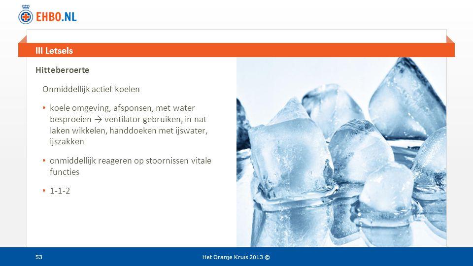 Beeld en tekst gelijk III Letsels Het Oranje Kruis 2013 © Hitteberoerte Onmiddellijk actief koelen • koele omgeving, afsponsen, met water besproeien →