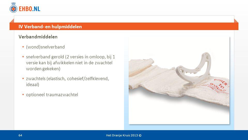 Beeld en tekst gelijk IV Verband- en hulpmiddelen Het Oranje Kruis 2013 ©64 Verbandmiddelen • (wond)snelverband • snelverband gerold (2 versies in oml