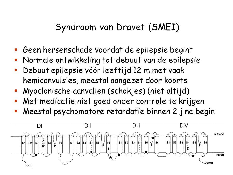 Syndroom van Dravet (SMEI)  Geen hersenschade voordat de epilepsie begint  Normale ontwikkeling tot debuut van de epilepsie  Debuut epilepsie vóór leeftijd 12 m met vaak hemiconvulsies, meestal aangezet door koorts  Myoclonische aanvallen (schokjes) (niet altijd)  Met medicatie niet goed onder controle te krijgen  Meestal psychomotore retardatie binnen 2 j na begin