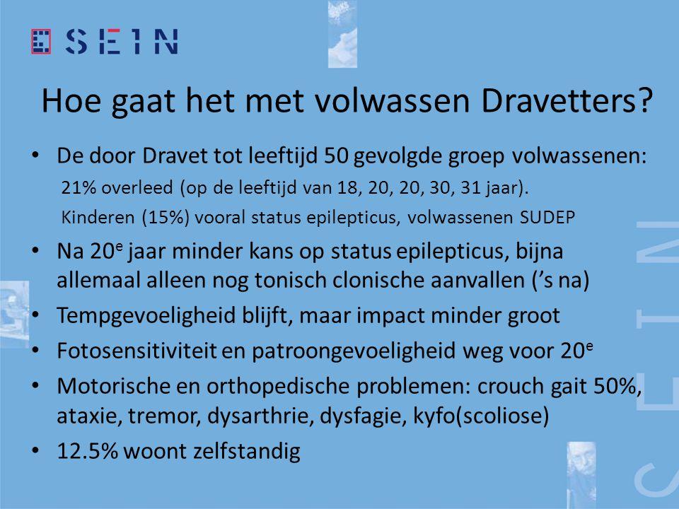 Hoe gaat het met volwassen Dravetters? • De door Dravet tot leeftijd 50 gevolgde groep volwassenen: 21% overleed (op de leeftijd van 18, 20, 20, 30, 3