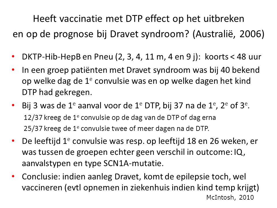 Heeft vaccinatie met DTP effect op het uitbreken en op de prognose bij Dravet syndroom? (Australië, 2006) • DKTP-Hib-HepB en Pneu (2, 3, 4, 11 m, 4 en
