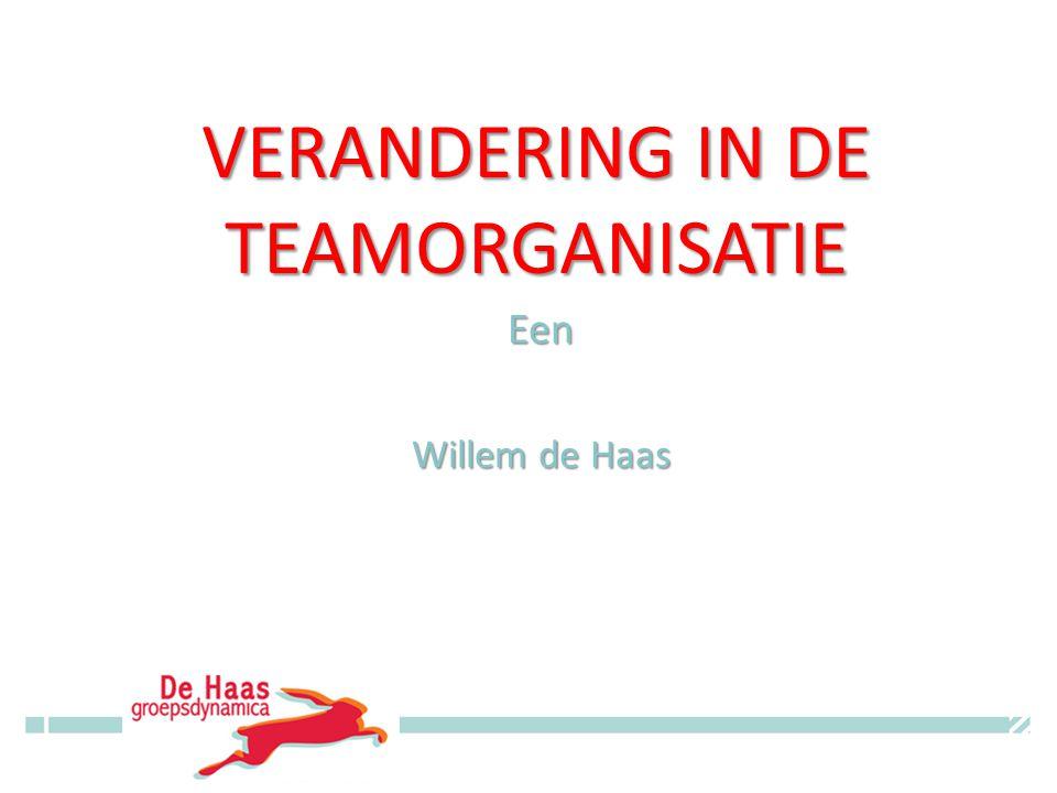VERANDERING IN DE TEAMORGANISATIE Een Willem de Haas © Willem de Haas