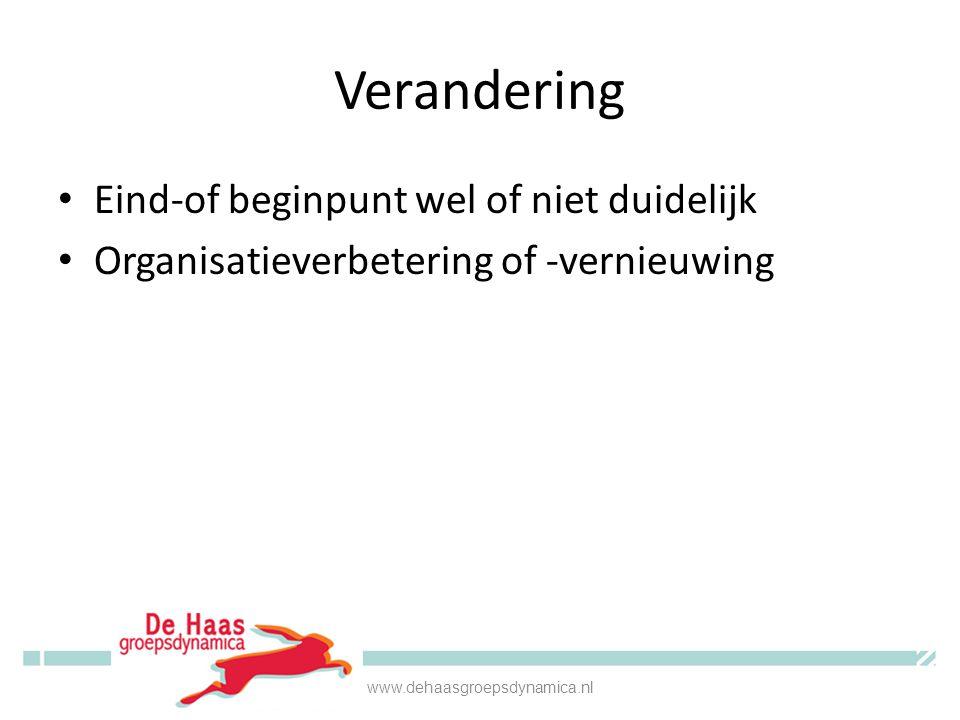 Verandering • Eind-of beginpunt wel of niet duidelijk • Organisatieverbetering of -vernieuwing www.dehaasgroepsdynamica.nl